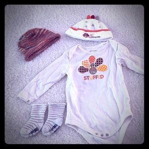Baby's first Thanksgiving onsie, hats, and socks